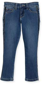 Billieblush Denim Jeans w/ Metallic Trim Sides, Size 4-8