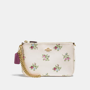 COACH Coach Nolita Wristlet 22 With Cross Stitch Floral Print - LIGHT GOLD/CHALK CROSS STITCH FLORAL - STYLE