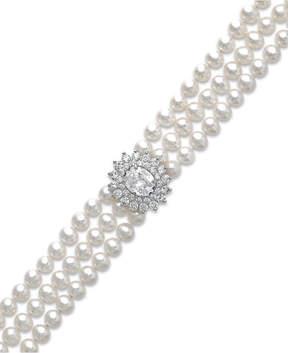 Arabella Cultured Freshwater Pearl (5mm) and Swarovski Zirconia Bracelet in Sterling Silver