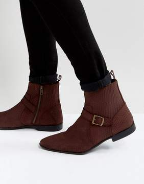 Asos Chelsea Boots In Burgundy Suede With Buckle Detail And Zips