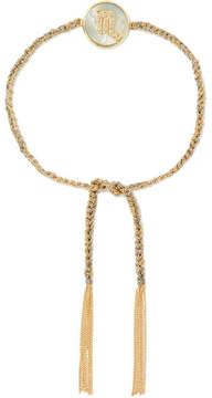 Carolina Bucci Scorpio Lucky Zodiac 18-karat Gold, Diamond, Mother-of-pearl And Silk Bracelet