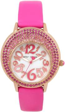 Betsey Johnson CRESCENT CRYSTALS PINK WATCH