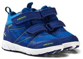 Viking Blue and Green Mid-Top Velcro Trainers