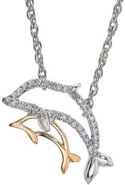 Armani Exchange Jewelry 0.10 Carat T.W. Diamond Two-Tone 14kt Yellow Gold and Sterling Silver Mom and Child Fish Necklace (IJ I2-I3)