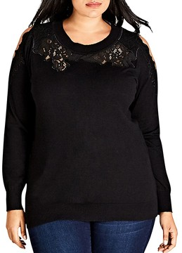 City Chic Lace Cold-Shoulder Sweater