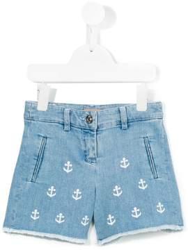 No.21 Kids anchor print denim shorts