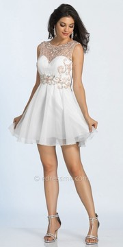 Dave and Johnny Scroll Beaded Keyhole Back Fit and Flare Cocktail Dress
