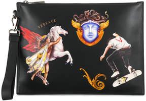 Versace Triptych print clutch