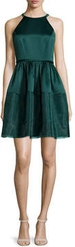 Erin Fetherston Jewel-Neck Fit-&-Flare Dress, Deep Jade