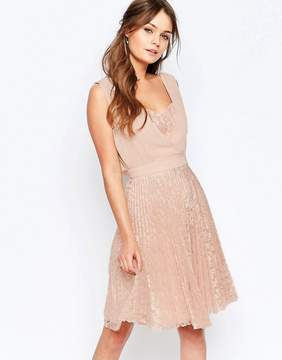 Elise Ryan Pleated Skater Dress With Lace Skirt