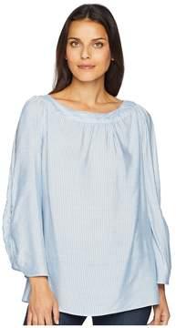 Jones New York Rivet Detail Boat Neck Top Women's Clothing
