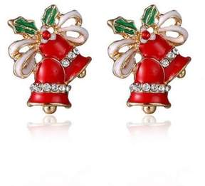 Alpha A A Christmas Gold Tone Red Holiday Bell Earrings