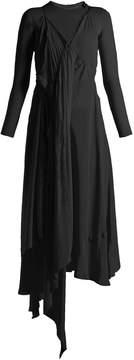Balenciaga Round-neck draped silk-crepe dress