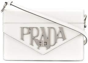 Prada logo plaque shoulder bag