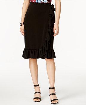 ECI Ruffled Faux-Wrap Skirt