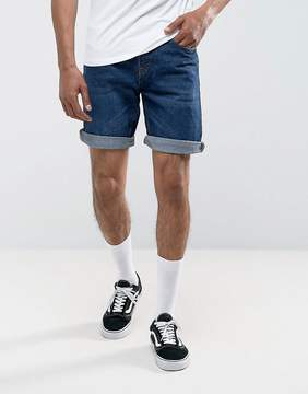 Pull&Bear Regular Fit Denim Shorts In Mid Wash