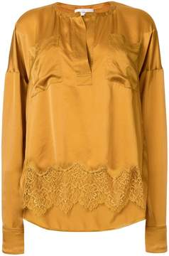 Faith Connexion lace hem silk blouse