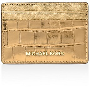 MICHAEL Michael Kors Embossed Leather Card Case - GOLD/GOLD - STYLE