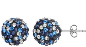 Ball Crystal Sterling Silver Stud Earrings