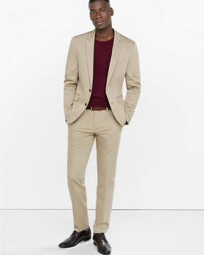 Express Extra Slim Cotton Sateen Khaki Suit Pant
