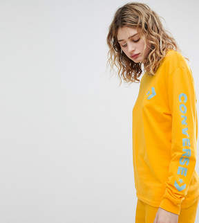 Converse Exclusive To ASOS Long Sleeve T-Shirt With Arm Branding In Yellow