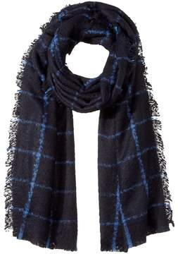 Lauren Ralph Lauren Windowpane Faux Mohair Blanket Wrap Scarves