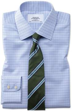 Charles Tyrwhitt Classic Fit Non-Iron Multi Check Blue Cotton Dress Shirt Single Cuff Size 16/34