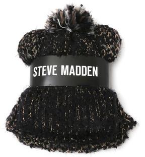 Steve Madden Pompom Beanie & Infinity Scarf Set