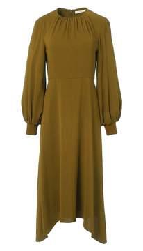Tibi Savanna Crepe Shirred Neck Midi Dress