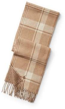 Ralph Lauren Reversible Plaid Wool Scarf Camel Malange One Size