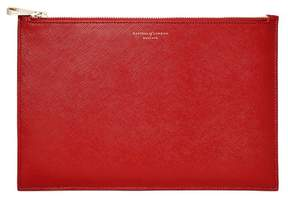 Aspinal of London Large Essential Flat Pouch In Scarlet Saffiano