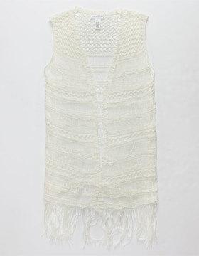 Full Tilt Fringed Crochet Girls Vest