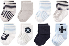 Luvable Friends Blue Airplane Eight-Pair Sock Set - Infant