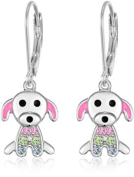 Swarovski Chanteur Jewelry White Gold Plated Sterling Silver Crystal Dog Drop Earrings