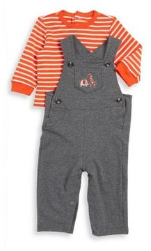 Little Me Baby Boys Two-Piece Cotton Animal Top and Striped Overalls Set