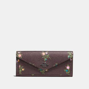 COACH Coach Soft Wallet With Cross Stitch Floral Print - DARK GUNMETAL/OXBLOOD CROSS STITCH FLOR - STYLE