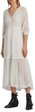 AllSaints Palma Swiss Dot Maxi Dress