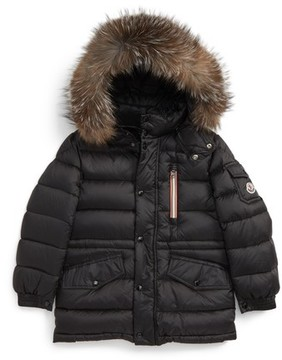 Moncler Girl's Lilian Water Resistant Down Parka With Genuine Fox Fur Trim