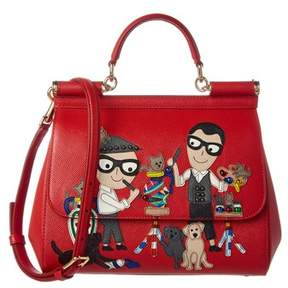 Dolce & Gabbana Sicily Family Leather Satchel. - RED - STYLE