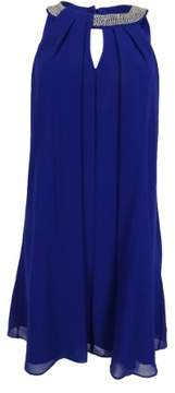 Vince Camuto Women's Chaain Detailed Keyhole Chiffon Dress (8, Royal)