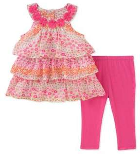 Kids Headquarters Little Girl's Two-Piece Floral Ruffle Tunic and Capri Set