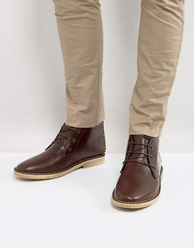Asos Desert Boots In Brown Leather With Perforated Detail