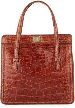 Valentino Tall Alligator Tote Bag, Brown
