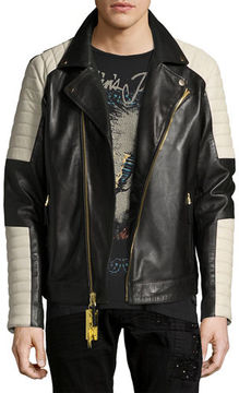 Robin's Jeans Colorblock Leather Motorcycle Jacket