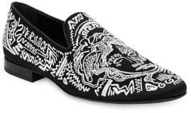 Versace Medusa Embroidered Suede Loafers