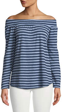 Allen Allen Off-The-Shoulder Striped Tee