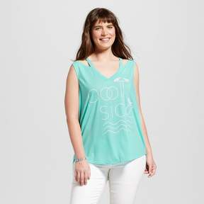 Fifth Sun Women's Plus Size Pool Side Cut Out Graphic Tank Top Turquoise