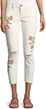Dex Cross-Stitched Embroidered Super Skinny Jeans