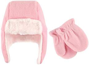 Hudson Baby Light Pink Trapper Hat & Mittens - Infant