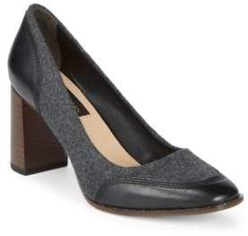 Donna Karan Shelby Leather and Wool Pumps